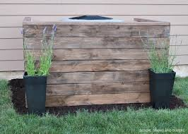 air conditioning unit cover. diy weathered wood ac unit cover with potted flowers (via designdininganddiapers.com) air conditioning a