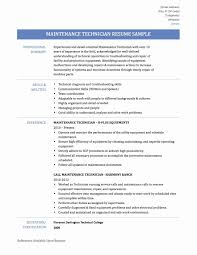 Facility Maintenance Resume Examples Best of Inspirational Maintenance Technician Resume Madiesolution
