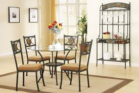 metal and glass dining table chairs best gallery tables round design come with black frame set