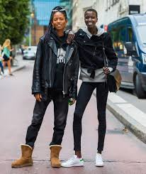 jeans black jacket stockholm fashion week streetstyle jacket leather jacket boots ugg boots sweatshirt hoo black