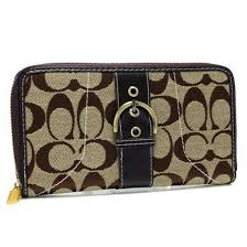 Coach Buckle In Signature Large Coffee Wallets 22933