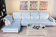 sectional covers. Home Furniture Protector Sectional Sofa Cover Quilted Embroidery Couch Slipcover Blue Colored Fundas Armrest Glass Table Covers 2