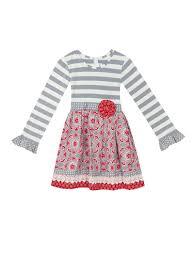 Gray Stripe To Print Dress Counting Daisies Little Girls 2 6x