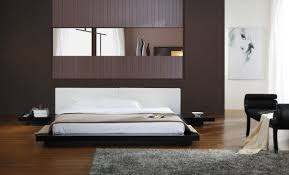 Modrest Opal Black Gloss Japanese Style Platform Bed Platform