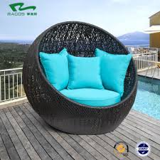 round seat rattan daybed with cushions for beach or swimming poollike