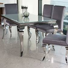louis contemporary glass chrome 1 6m or 2m dining table