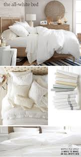 all white bedding  pottery barn  the insides (bedroom
