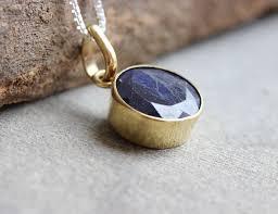 18k gold sapphire pendant necklace round blue precious stone pendant at astudio1980 com