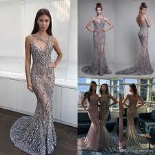 Luxury Berta 2017 Mermaid Evening Dresses Backless Beads Trumpet
