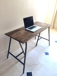 hand finished wood desk on metal ikea legs desk with dark walnut wood stain