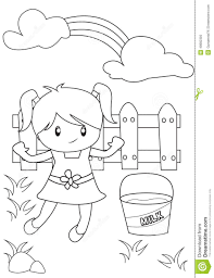Small Picture Cute Little Girl Playing In The Backyard Coloring Page Stock