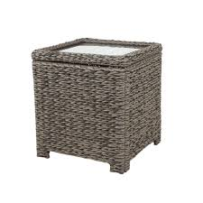 hampton bay laa point square wicker outdoor accent table with captured glass top