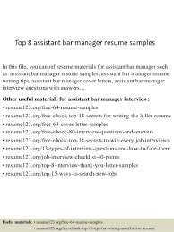 Top 8 assistant bar manager resume samples In this file, you can ref resume  materials ...