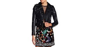 lyst romeo and juliet couture star studded faux leather jacket in black