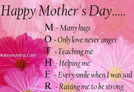 Mothers Day Quotes Enchanting Happy Mother's Day M Many Hugs O Only Love Never Anger T