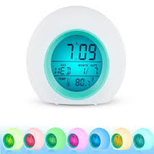 Toddler Clock Green Light Us 4 07 16 Off Wake Up Light Clock For Kids Child Toddler Adults 7 Colors Changing Alarm Clock Table Lamp Home Decoration Accessories 5 111 In Alarm
