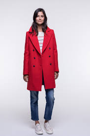 red coat in wool rich fabric