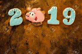Top View New Year 2019 Caption Of Gingerbread Happy Pig And Numbers