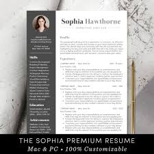 Professional Resume Template With Photo Modern Cv Word Mac Pages Free Cover Letter Teacher Instant Download The Sophia