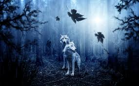 Wolves In A Dark Fantasy Forest 4k Ultra Hd Wallpaper