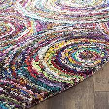safavieh nantucket collection nan514a handmade abstract circles multicolored cotton round area rug 4 diameter