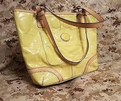 2 of 12 Coach Peyton Embossed Yellow Patent Tote Purse Handbag Satchel  F22322 Yellow
