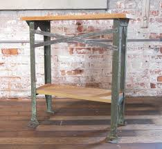vintage industrial two tier wood and metal side table shelf stand in good