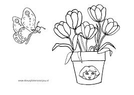 Dora Bloemen Met Vlinder Kleurplaten Voor Jou