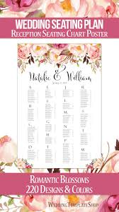 Poster Seating Charts For Wedding Receptions Wedding Seating Chart Poster Romantic Blossoms Watercolor