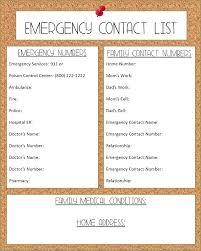Family Contact List Template Emergency Call List Template Down Yakult Co