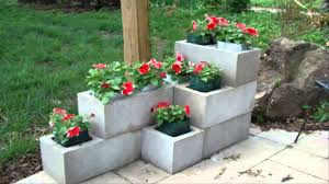 ... Charming Garden Landscaping Decoration With Various Cinder Block Garden  Planters : Awesome Picture Of Decorative Stacked ...