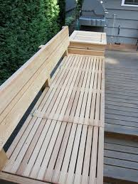 built in bench with storage cool outdoor patio bench