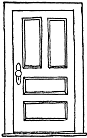 door black and white clipart open