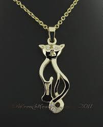 image of 14kt gold diamond cat pendant c w chain