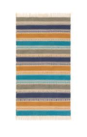 blue grey sand stripe indoor outdoor kilim rug pet yarn 75 x 135cm