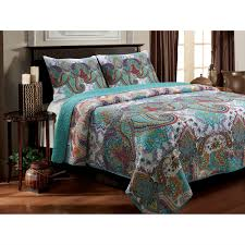 Twin size 3-Piece Cotton Quilt Set in Teal Multi-Color Paisley ... & Twin size 3-Piece Cotton Quilt Set in Teal Multi-Color Paisley Pattern Adamdwight.com