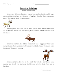 Reading Comprehension Worksheet - Rena the Reindeer ...