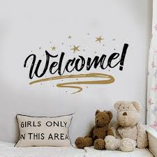 fullsize of simple decoration erfly wall decals welcome english letters wall sticker removable art welcome