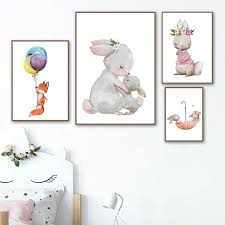 Watercolor Rabbit Fox Balloon <b>Flower</b> Posters Wall <b>Art Canvas</b> ...