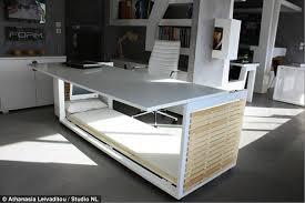 sleek office desk. The Desk Lifts To Reveal A Sleep Cabin Below, Complete Sleek Office O