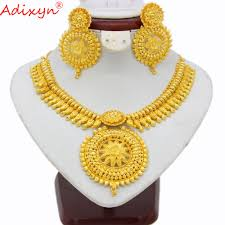 Long Heavy Earrings Design Us 116 0 20 Off Adixyn Indian Big Heavy Jewelry Sets Gold Color Necklace Earrings For Women African Dubai Arab Wedding Jewelry Gifts N03146 In