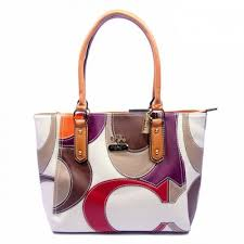 Coach Big Logo Medium Orange White Satchels 048