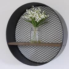 small round wall hanging shelf