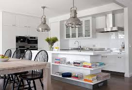 view in gallery modern kitchen with industrial style lighting and white island with open shelves design diane