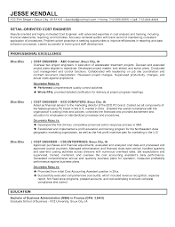 sample resume template engineer resume sample information sample resume template for cost engineer professional excellence