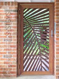 Laser cut gate - Palm frond (weathering steel & select hardwood ...