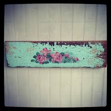 vintage fl rose painting on old barn wood shabby on sold