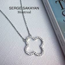 lucky 4 leaf clover diamond pendant necklace montreal jewelry s