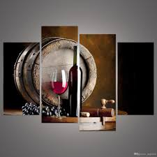 2018 modern 4 panels framed still life grape and wine bottle prints on canvas painting flat barrel wall art for dining room bar decor f 001 from angelerd  on wine and dine canvas wall art with 2018 modern 4 panels framed still life grape and wine bottle prints