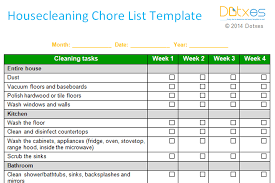 monthly house cleaning schedule template house cleaning chore list template weekly dotxes